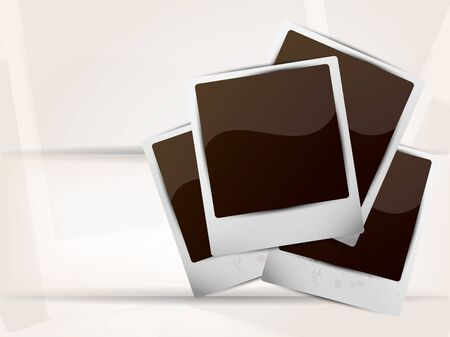 Bright background with photoframe and white line photo