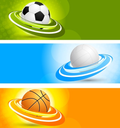 Set of color banners with sport balls photo