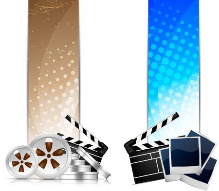 Set of color banners with cinema element photo