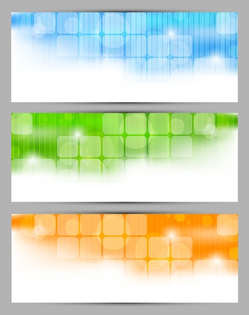 orange background: Set of banners with squares and circle