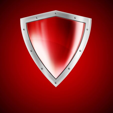 Background with bright red shield and lights photo