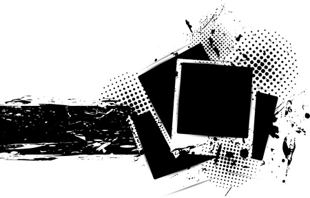 grunge banner: Grunge background with photo frames and ink