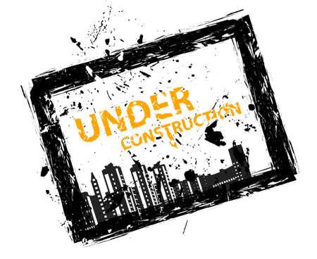 urban planning: Sign illustration under construction with black ink