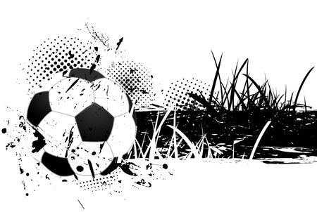 soccer stadium crowd: Grunge background with soccer ball and grass Stock Photo