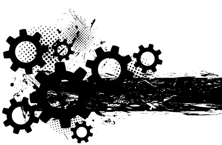 Grunge background with gears and black ink photo