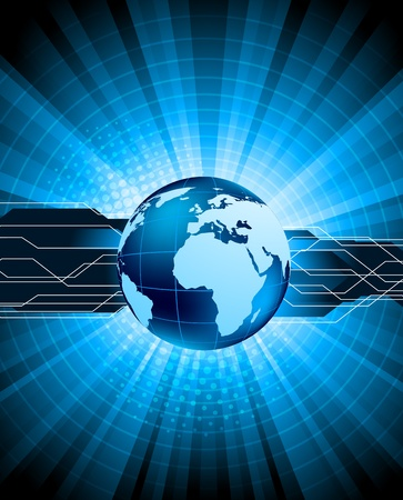 Bright blue tech background with globe and ray photo