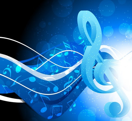 transcribe: Bright blue background with g-clef and waves Stock Photo