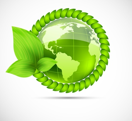 safe world: Bright green background with globe and leaves
