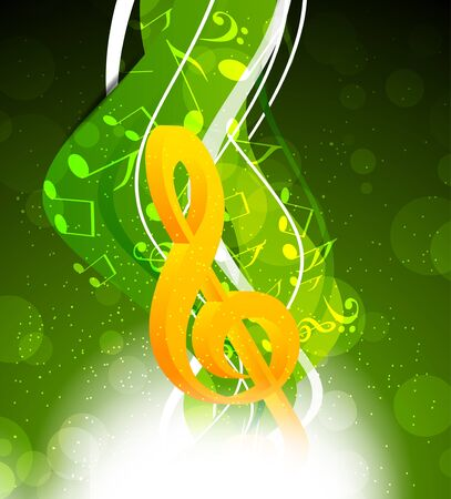 Background with yellow g-clef in green color photo
