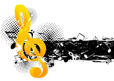 g spot: Grunge music background with g-clef and notes Stock Photo