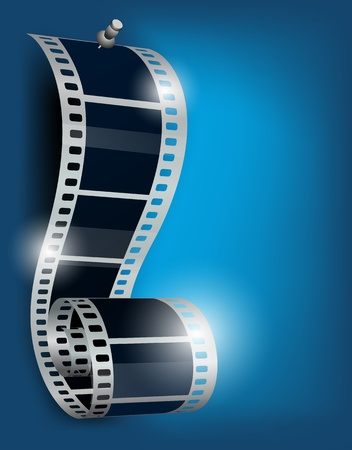 film roll: Film reel with stud on blue background Stock Photo