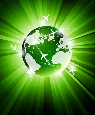 Bright green background with travel concept Stock Photo - 13404416