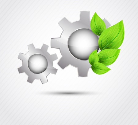 gearshift: Bright background with gear and green leaves