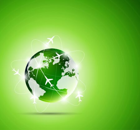 global links: Bright green background with travel concept Stock Photo