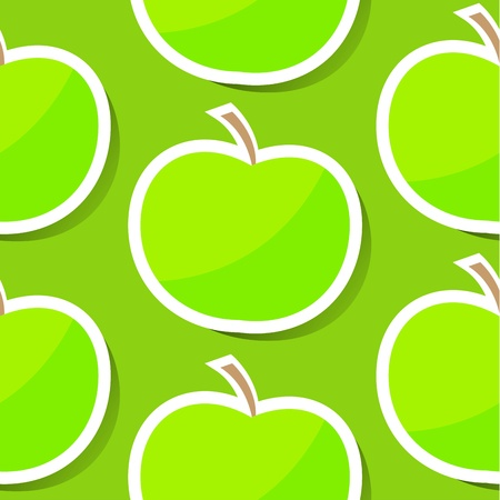 Seamless background with apple in green color photo