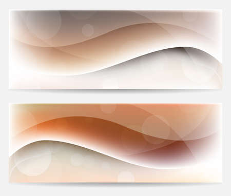 pellucid: Bright brown wavy banners with circles Stock Photo