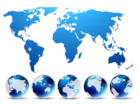 asia pacific map: Bright background with blue map and globes