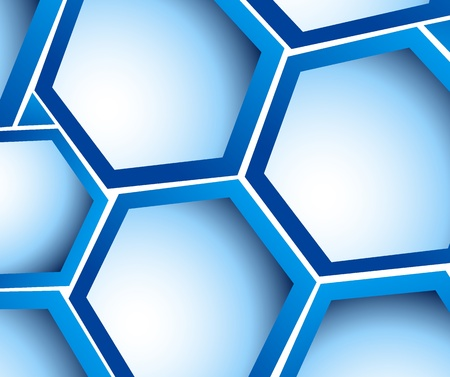 Bright background with blue hexagons and light photo