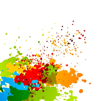 Bright colorful background with splashes of paint photo