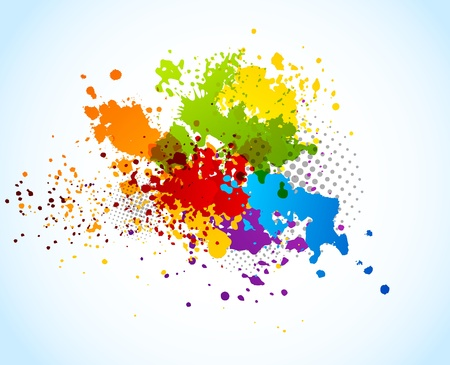 ink blots: Bright grunge background with splashes of paint Stock Photo