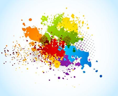 splash paint: Bright grunge background with splashes of paint Stock Photo