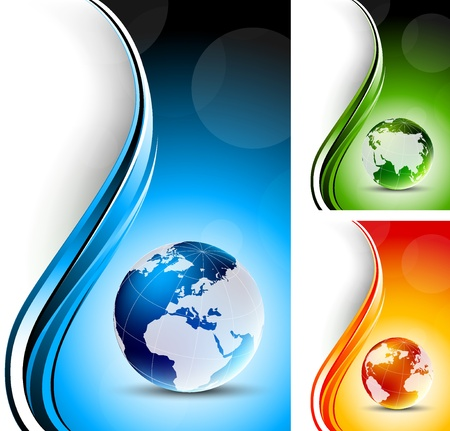 blue button: Set of bright color backgrounds with globes Stock Photo