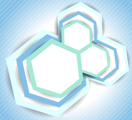 Bright blue background with hexagons and lines photo