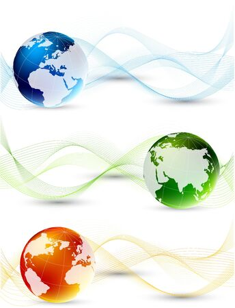 Set of banner with globes and waves photo