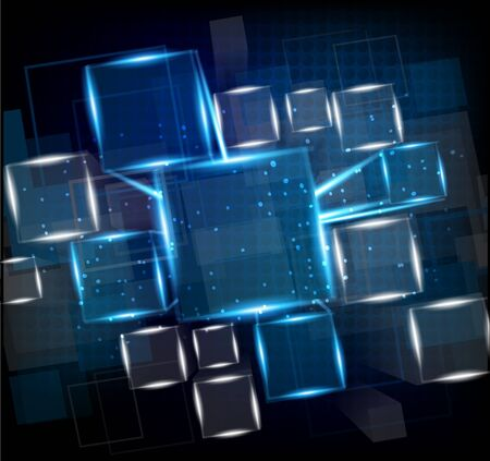 brink: Dark blue background with cubes and lights