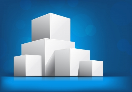 3d dimensional: Bright blue background with white 3d cubes