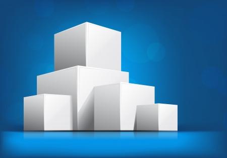 cubo: De fondo azul brillante con blancos cubos 3d