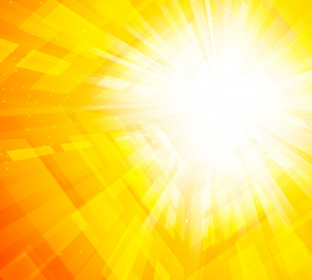 the yellow: Bright orange background with rays and squares