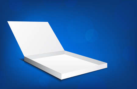 White open box on blue background with circles Stock Photo - 14151778