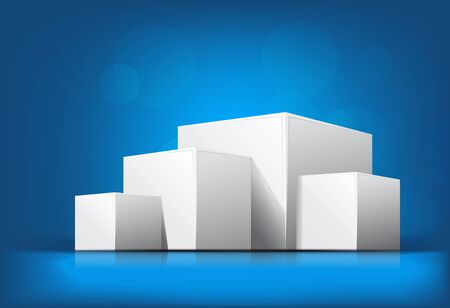 dimensions: Bright blue background with pile of cubes Stock Photo