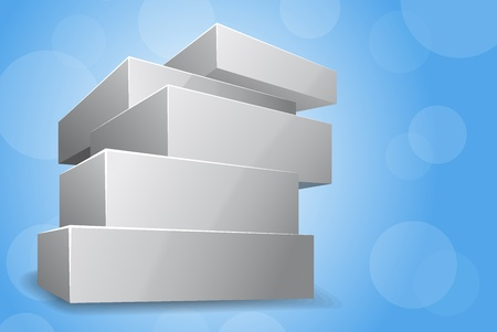 size distribution: Bright blue background with pile of box Stock Photo