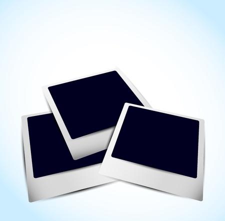 Bright background with three empty photo frames photo