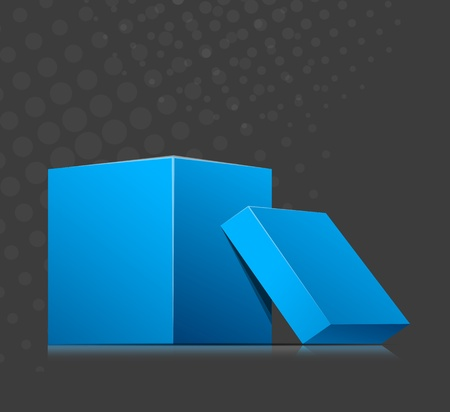 Bright grey background with two blue cubes photo