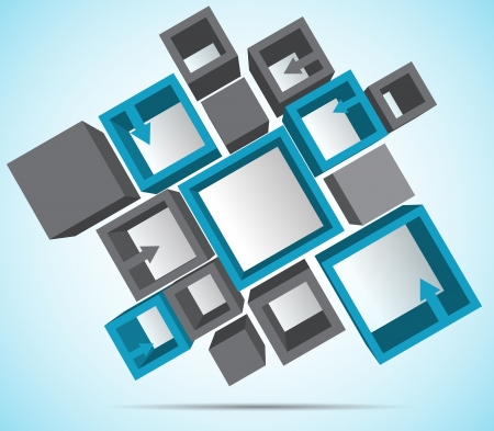 blue 3d blocks: Abstract background with 3d cubes and arrow Illustration