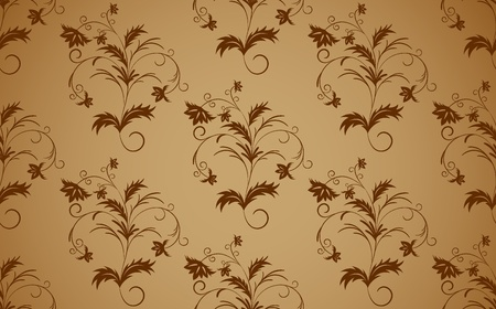 Bright background with brown seamless floral pattern Vector