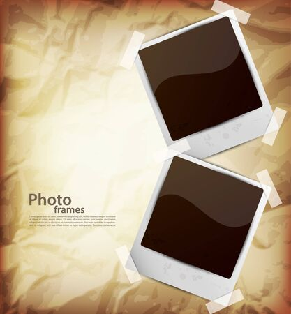 Two photo frames on olded brown background Vector