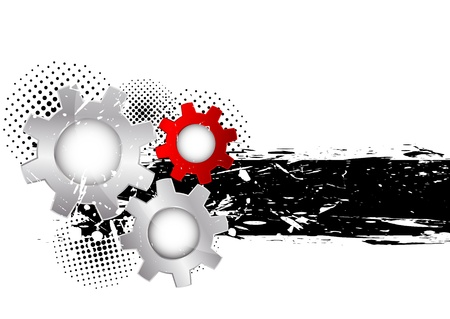ink spot: Abstract grunge background with three gears