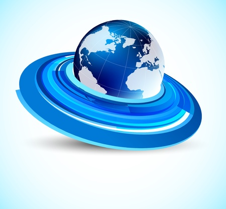 Blue background with globe and circles Vector