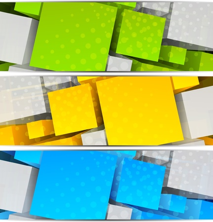 Set of  abstract banners with colorful 3d cubes Vector