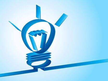 Fondo azul con la lámpara 3d creativo