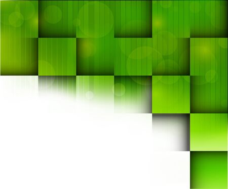 creative background: Abstract bright background with green squares Illustration