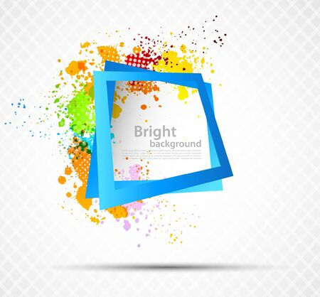 creative background: Bright grunge colorful background with square frame