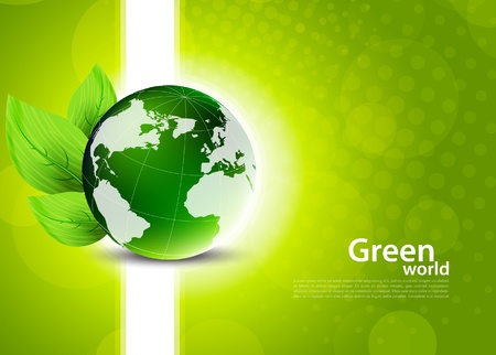 organic concept: Green background with globe and leaves