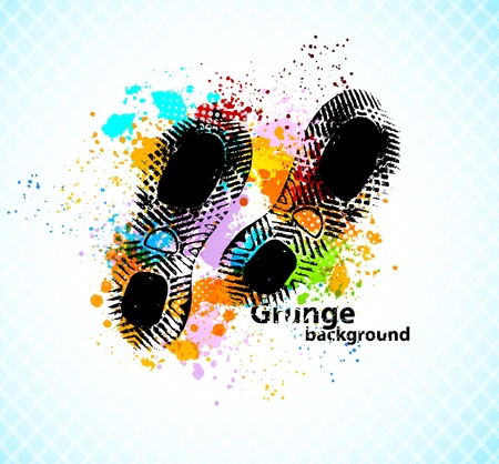 shoe print: Grunge abstract background with sole of shoes Illustration