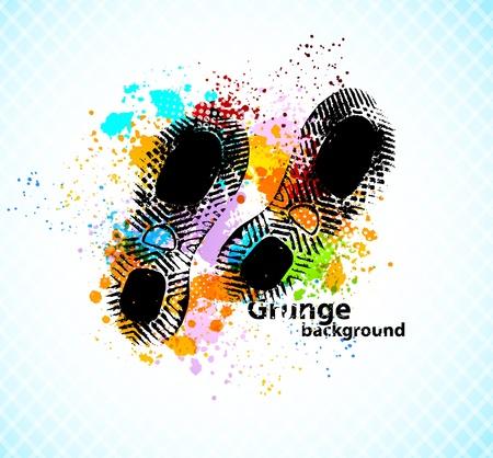 Grunge abstrakter Hintergrund mit Sohle der Schuhe Vektorgrafik