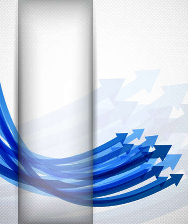 Abstract gray background with blue wavy arrows Vector